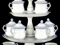 old paris blue and white pot de creme set cups on 2 tiered tray