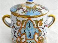 french faience breton man pot de creme cup back