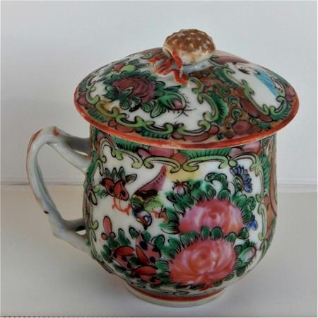 chinese export bright floral pot de creme cup side view