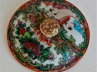 chinese export bright floral pot de creme cup lid view