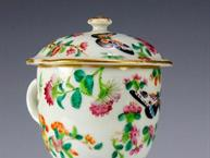 chinese export pot de creme butterflies and flowers bright colors