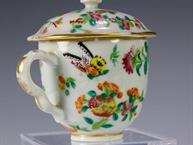 chinese export pot de creme cup butterflies and brightly colored flowers  juice1499