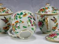 chinese export pot de creme, 3 decorated with butterflies and flowers in bright colors