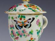 chinese export pot de creme cup butterflies and brightly colored flowers