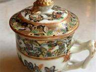 chinese export thousand butterflies pot de creme cup side view