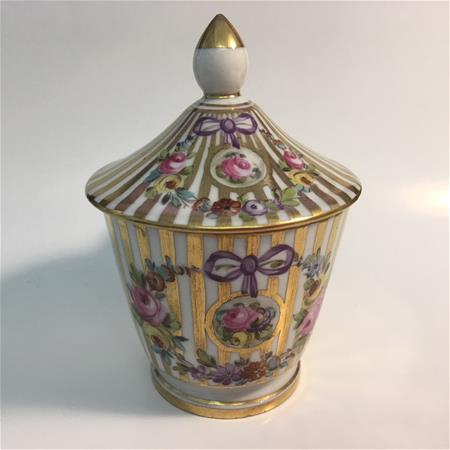 dresden gold stripe pot de creme front view