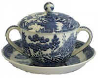 blue and white 2 handled cup