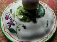 french faience pot de creme cup lid and finial view red yellow green