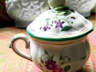 french faience pot de creme cup red and green trim floral design