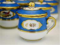 french 1850 blue and gold bird pot de creme set with tray monogramed