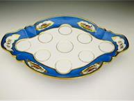 french 1850 blue and gold bird pot de creme set tray only