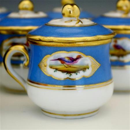french 1850 blue and gold bird pot de creme close up bird design