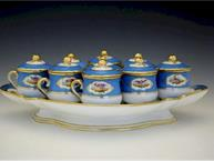 french 1850 blue and gold bird pot de creme set 7 cups on tray