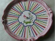 french pottery stripe pot de creme set tray only
