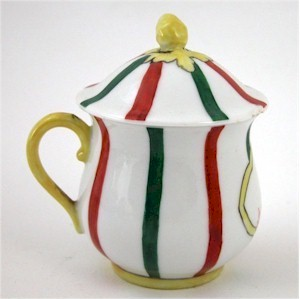 french stripe pot de creme cup red yellow and green on white