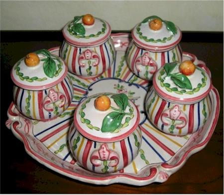 french pottery stripe pot de creme set 5 cups on tray