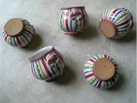 french pottery stripe pot de creme cups on sides clay detail