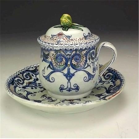 gien earthenware blue pot de creme cup and saucer