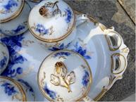 ginori blue and gold pot de creme set