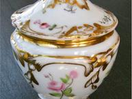 gold and pink rose old paris pot de creme cup
