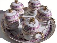 magenta and gold pot de creme set with cups and tray