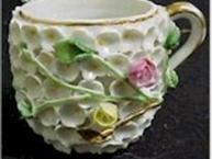 miesen pot de creme cup applied flowers close up