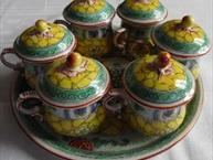 mehun pots de creme set 6 green and yellow pots on matching tray