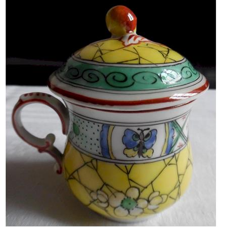 mehun pots de creme cup yellow, green red very detailed design