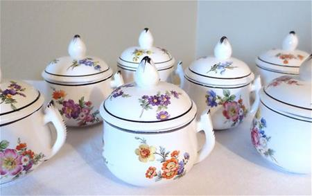 mottahedeh floral pot de creme set 7 cups lids creamware close up