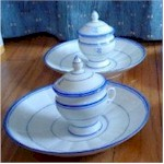 old paris pot de creme cups with saucers blue and white