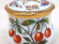 old paris pot de creme cup bright red cherries and heavy gold trim close up