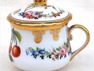 old paris pot de creme cup bright red cherries and heavy gold trim floral design on side and back