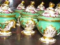 six old paris pot de creme set of 6 green pink and gold trim