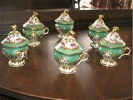 old paris pot de creme set of 6 green pink and gold trim
