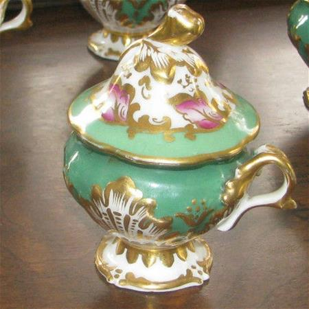 old paris green pink and gold decorated pot de creme cups