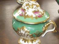 old paris green pink and gold decorated pot de creme single cup