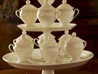 old paris white pot de creme set on tiered stand 10 cups