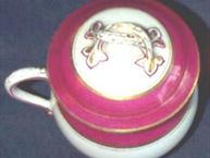 old paris magenta gold pot de creme cup with lid