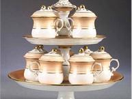old paris pot de creme set with 2 tier stand peach and gold