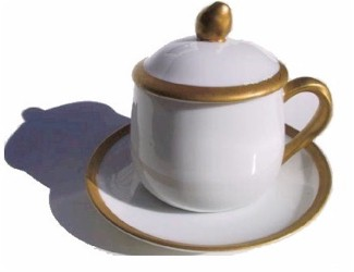 fitz and floyd white gold pot de creme cup and saucer