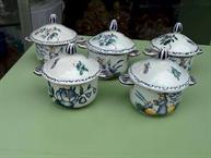 quimper malicorne tessier pot de creme 5 cups blue and yellow scene