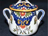 quimper pot de creme cups blue and dark yellow  2 handled