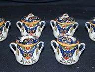 quimper pot de creme cups blue and dark yellow