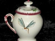 sarreguemines pot de creme cup draggon fly on one side
