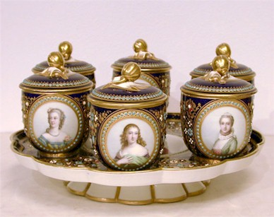 ornate sevres cobalt blue and gold decorated pot de creme set 6 on tray