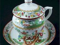 spode pot de creme cup with matching saucer, lid on