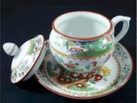 spode pot de creme cup with lid and saucer