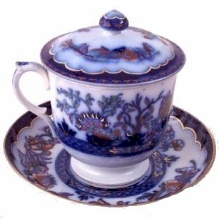 staffordshire pot de creme cup with saucer