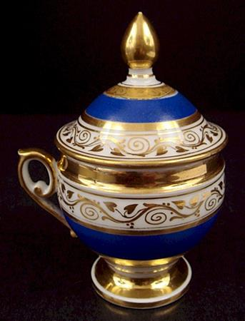 ultra marine ornate gold trim empire pot d e creme
