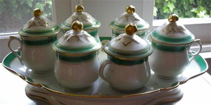old paris green and gold pot de creme set with tray